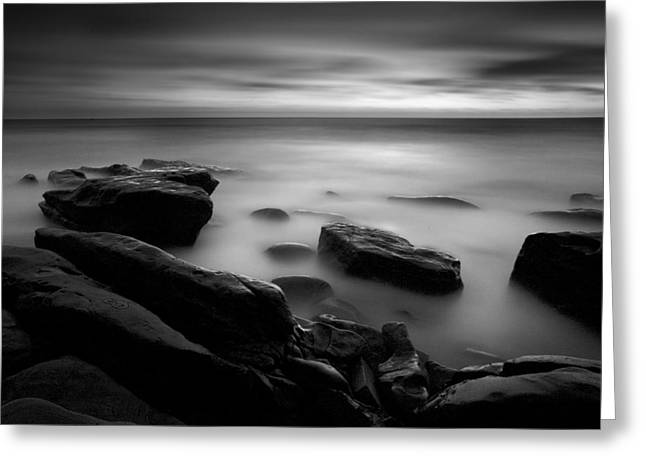 Misty Water Black And White Greeting Card by Peter Tellone