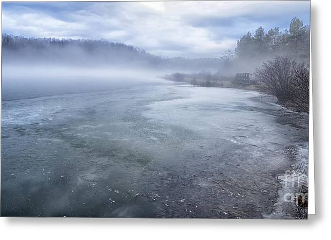 Misty Winter Morning On Lake Greeting Card by Thomas R Fletcher