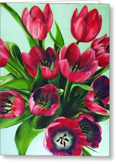 Mistys Tulips Greeting Card by Sherry Robinson
