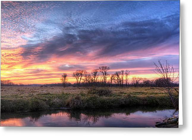 Mitchell Park Sunset Panorama Greeting Card by Scott Norris