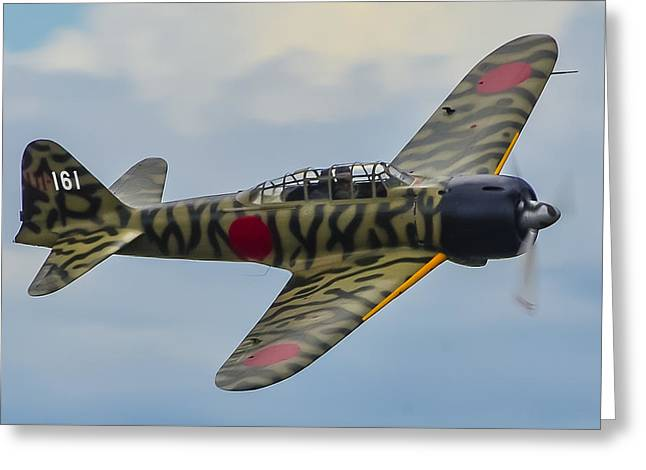 Mitsubishi A6m Zero Low Pass Greeting Card by Puget  Exposure
