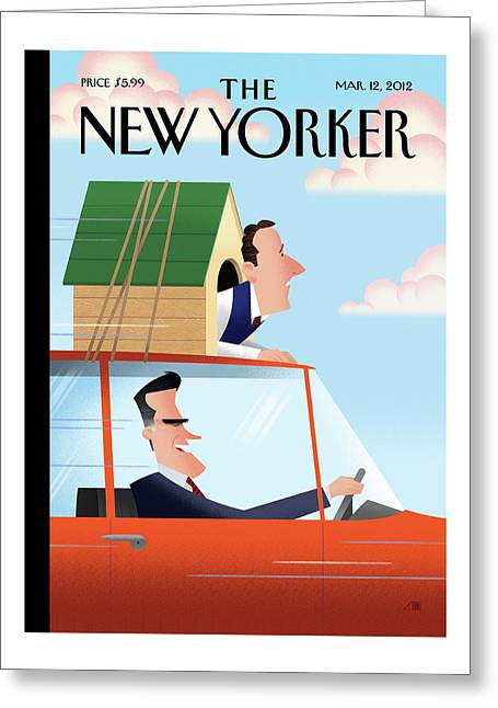 Mitt Romney Driving With Rick Santorum In A Dog Greeting Card