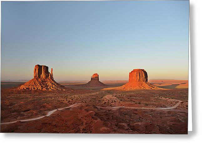 Mittens And Merrick Butte Monument Valley Greeting Card by Christine Till