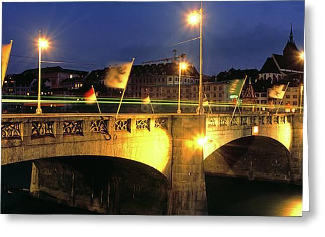 Mittlere Bruecke On Rhine River, Basel Greeting Card