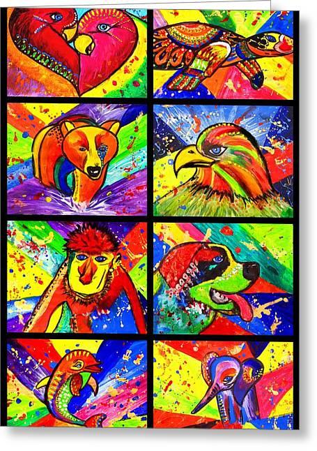 Mix Animal Pop Art Greeting Card