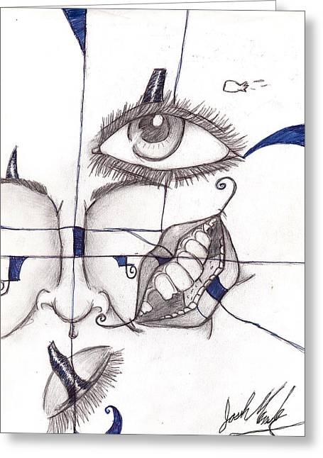Mixed Face Greeting Card by Joshua Massenburg