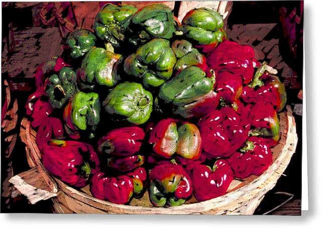 Mixed Green And Red Peppers In A Farm Basket Greeting Card by Elaine Plesser