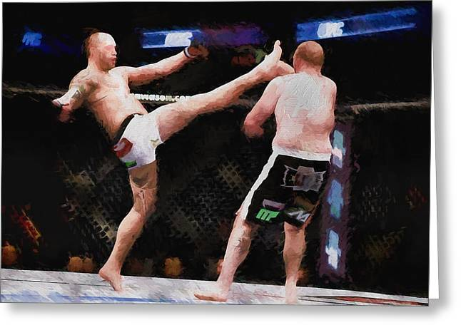 Mixed Martial Arts - A Kick To The Head Greeting Card by Elaine Plesser
