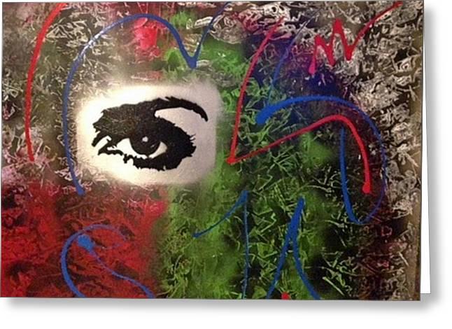 Mixed Media Abstract Post Modern Art By Alfredo Garcia Eye See You 2 Greeting Card
