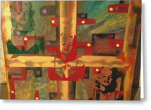 Mixed Media Abstract Post Modern Art By Alfredo Garcia The Blond Bombshell 3 Greeting Card