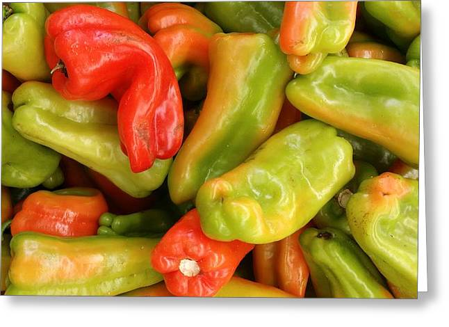 Mixed Pepper Shapes Greeting Card by Mark Victors