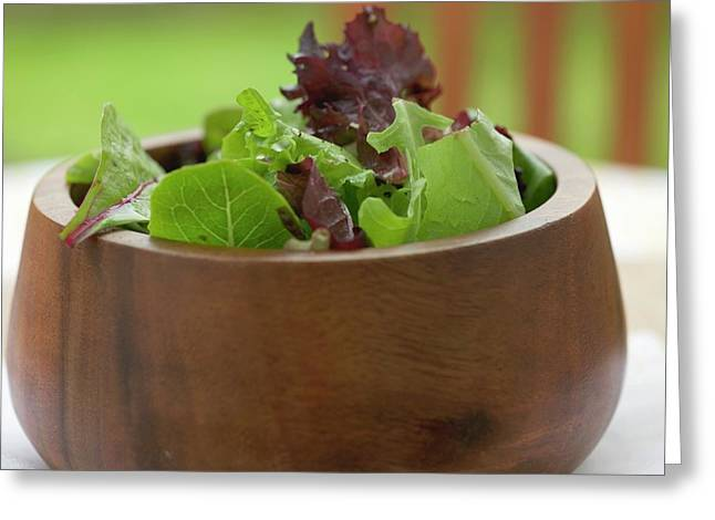Mixed Salad Leaves In A Wooden Bowl Greeting Card