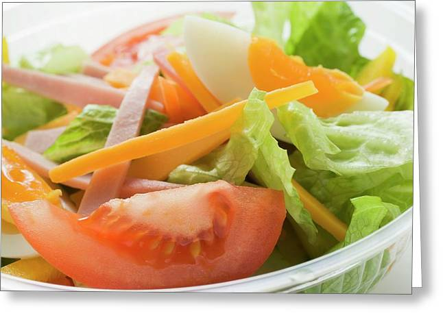 Mixed Salad With Ham And Egg In Plastic Container Greeting Card