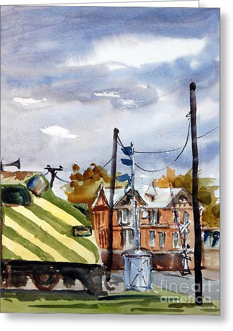 Mkt Train And Travellers Hotel Denison Tx Greeting Card by Ron Stephens