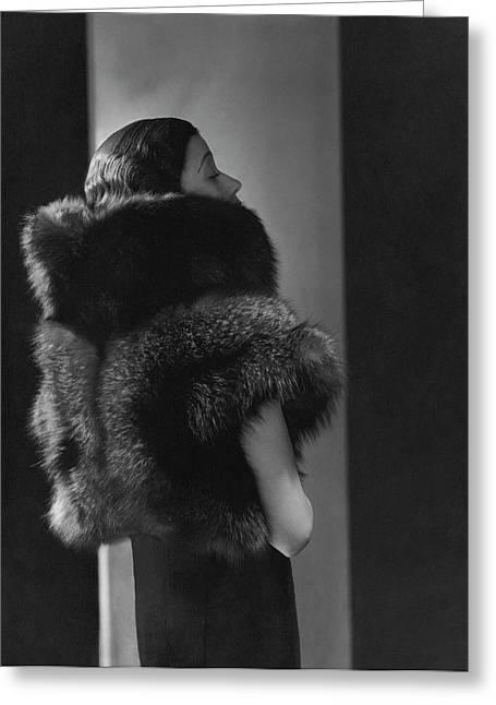 Mlle. Koopman Wearing A Fur Jacket Greeting Card by George Hoyningen-Huen?