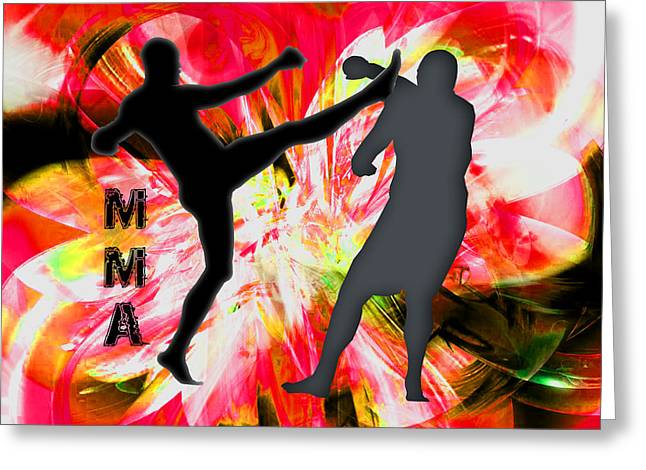 Mma Silhouettes In Red Explosion Greeting Card by Elaine Plesser