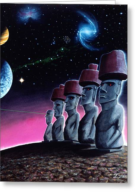 Moai On The Small Planet Greeting Card