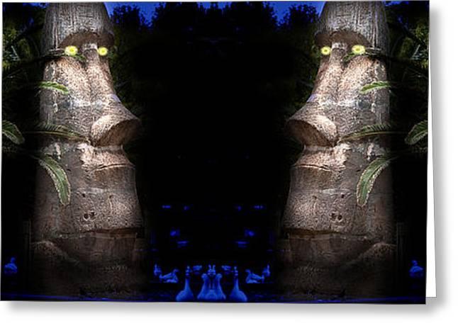 Moai Silver Greeting Card by Gunter Nezhoda