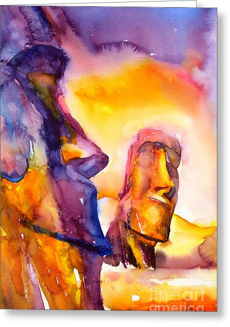Moai Statues- Easter Island Greeting Card by Ryan Fox