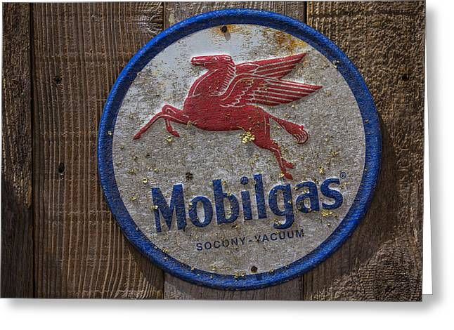 Mobil Gas Sign Greeting Card by Garry Gay