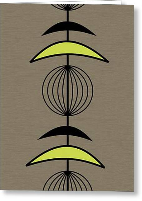 Mobile 3 In Green Greeting Card by Donna Mibus
