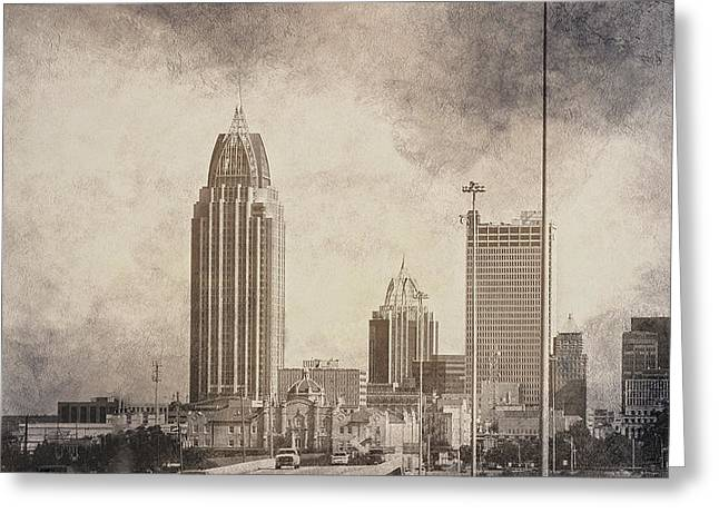 Mobile Alabama Black And White Greeting Card by Judy Hall-Folde