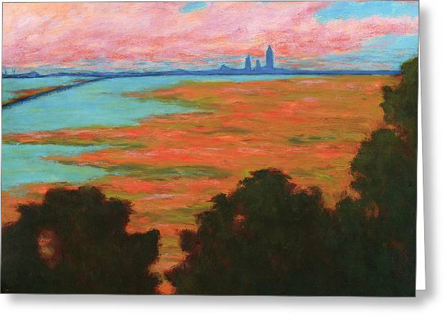 Mobile Skyline From The Eastern Shorte Greeting Card by Vernon Reinike