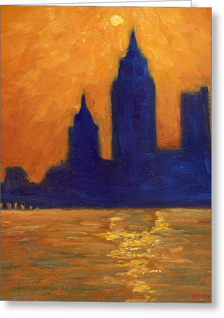 Mobile Skyline Late Evening Greeting Card by Vernon Reinike