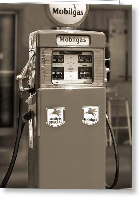 Mobilgas - Wayne Double Gas Pump 2 Greeting Card by Mike McGlothlen