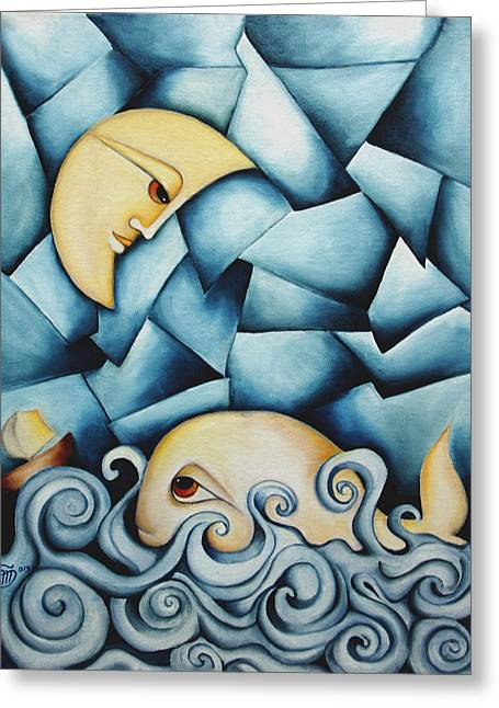 Moby Dick The Daughter Of The Moon  Greeting Card by Simona  Mereu