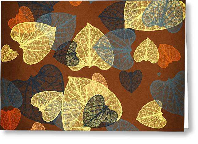 Mocha Abstract Leaves Square Greeting Card