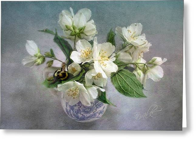 Sweet Mock Orange Blossom Bouquet With Bumble Bee  Greeting Card