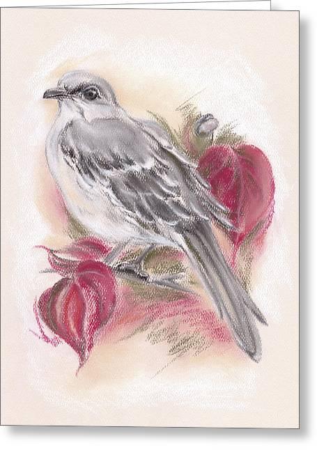 Mockingbird In Autumn Dogwood Greeting Card
