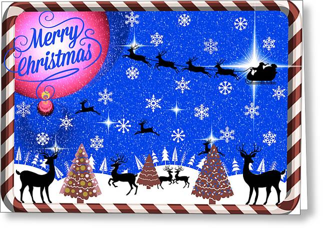 Mod Cards - Reindeer Games - Merry Christmas IIi Greeting Card by Aurelio Zucco