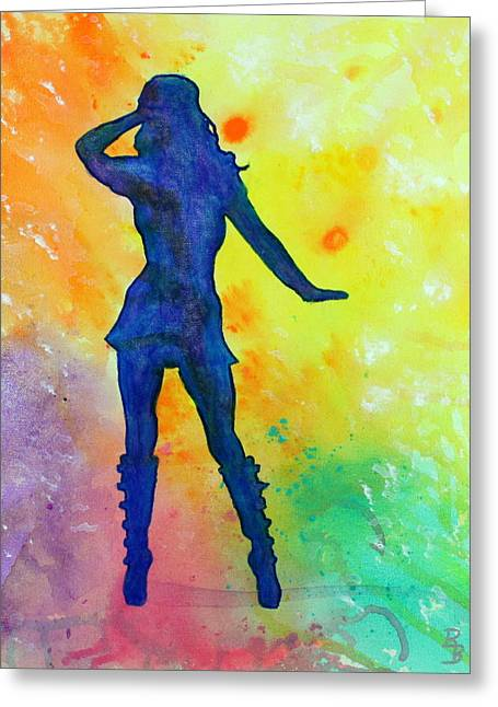 Mod Girl Female Silhouette Abstract Greeting Card