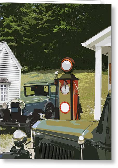 Model A Ford And Old Gas Station Illustration  Greeting Card