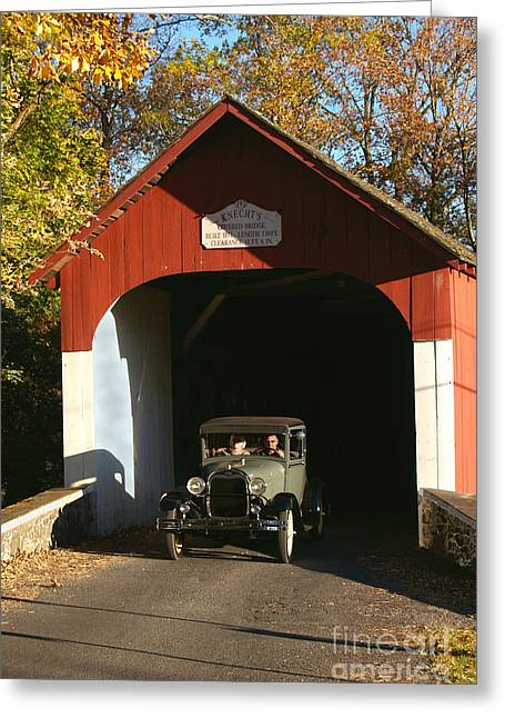 Model A Ford At Knecht's Bridge Greeting Card