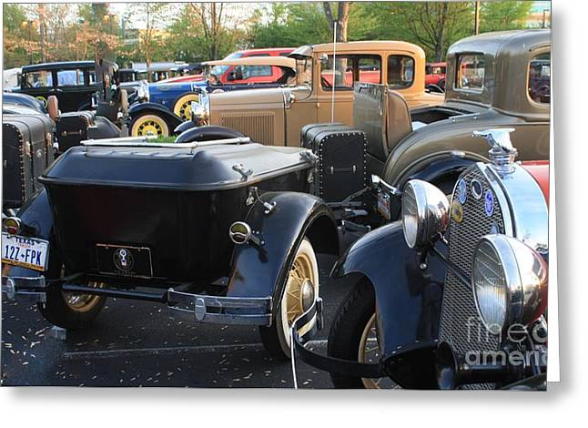 Model A With Trailor Greeting Card by Connie Mueller