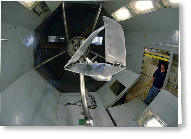 Model Airplane In Wind Tunnel Greeting Card by Science Source