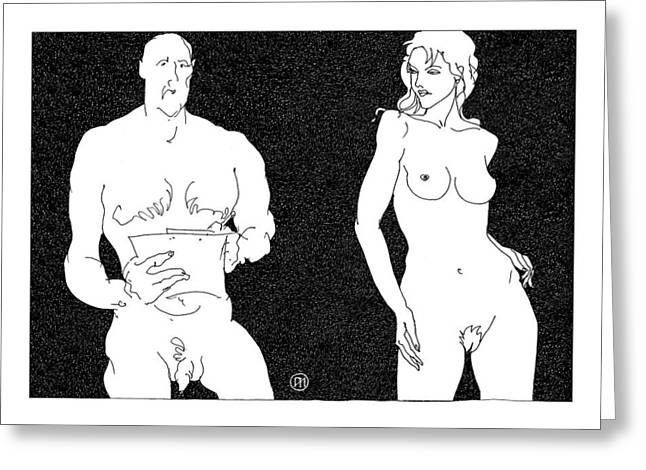 Model And Artist 15 Greeting Card by Leonid Petrushin