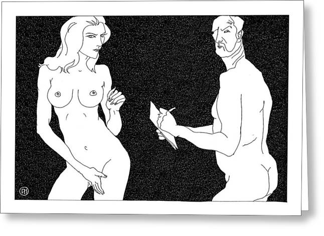 Model And Artist 19 Greeting Card by Leonid Petrushin