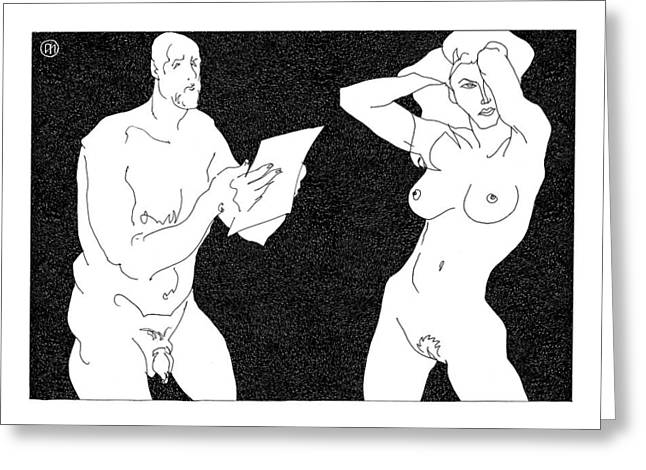 Model And Artist 20 Greeting Card by Leonid Petrushin
