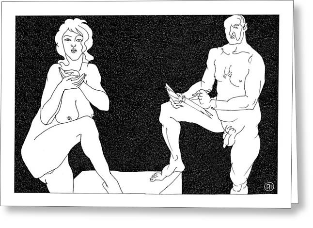Model And Artist 3 Greeting Card by Leonid Petrushin