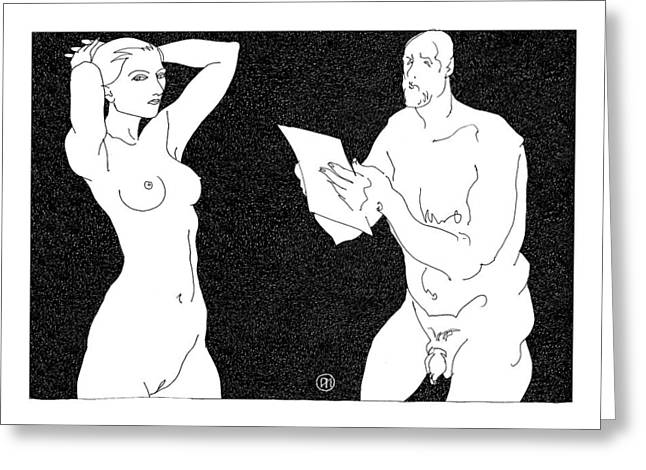 Model And Artist 7 Greeting Card by Leonid Petrushin