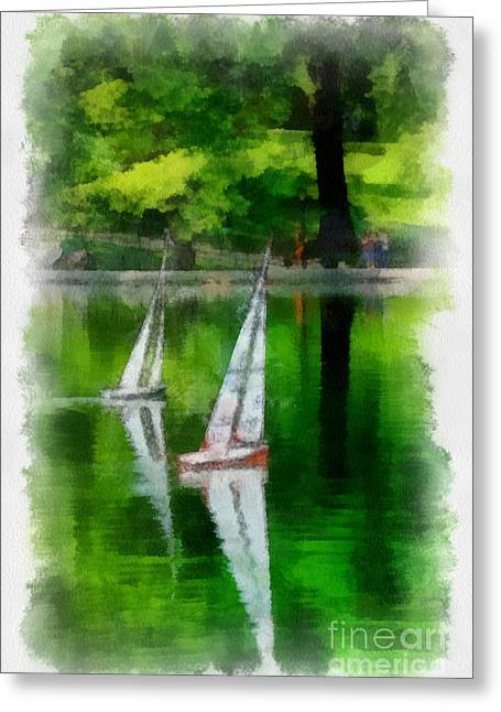 Model Boat Basin Central Park Greeting Card by Amy Cicconi