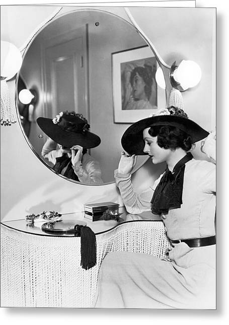 Model In Front Of A Mirror Greeting Card by William A Fraker