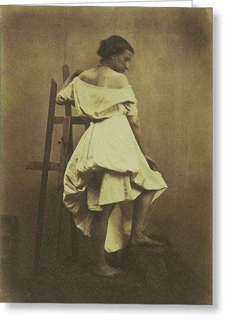 Model In White Dress With Easel Franck Chavassaigne Greeting Card