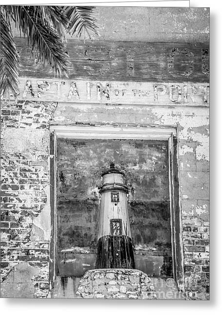 Model Key West Lighthouse In Old Brickwork - Black And White Greeting Card by Ian Monk