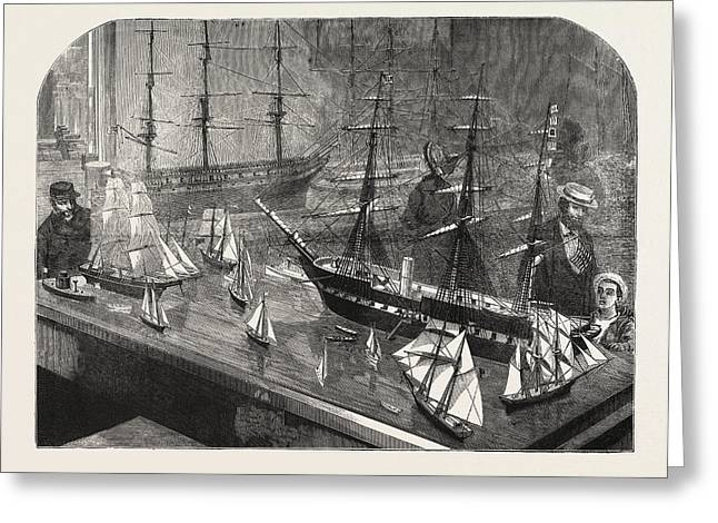Model Of A Fleet Of Vessels On The Philadelphia Exhibition Greeting Card by American School