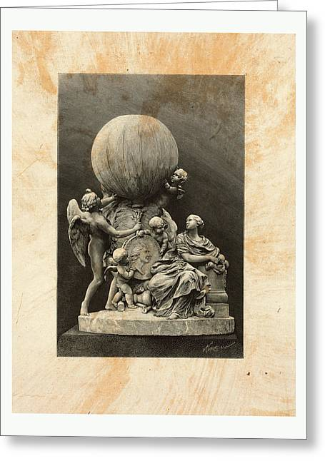 Model Of A Statue Dedicated To French Balloonists Greeting Card by English School